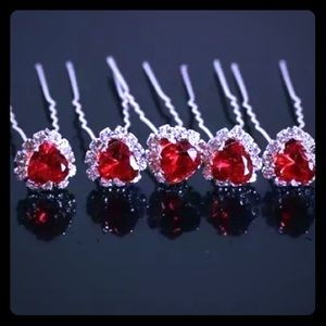 Accessories - Romantic Red Crystal Heart Hair Pins!  New